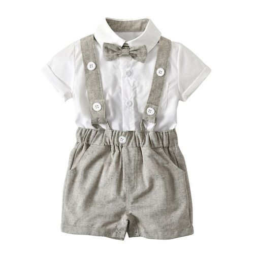 Pre Order - Awabox Solid Half Sleeves Shirt & Suspender Shorts Set With Bow - Grey