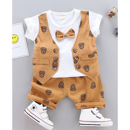 Pre Order - Awabox Mock Waistcoat Short Sleeves Tee With Attached Bow & Skull Print Short Set - Brown