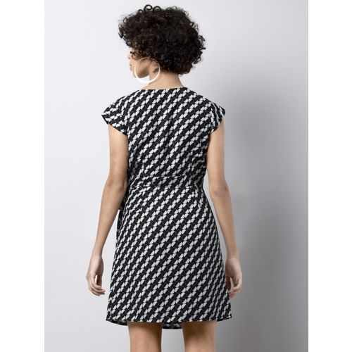 FabAlley Women Black Printed Fit and Flare Dress
