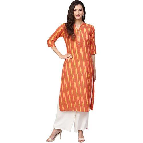 Inddus Women Ikat Straight Kurta(Orange)