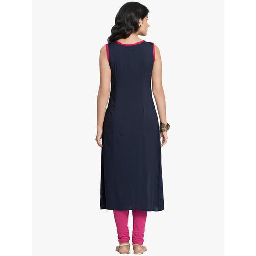 Naari Women Navy Blue Printed Straight Kurta