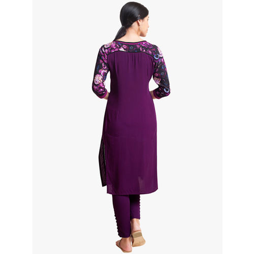 Naari Women Purple Printed A-Line Kurta