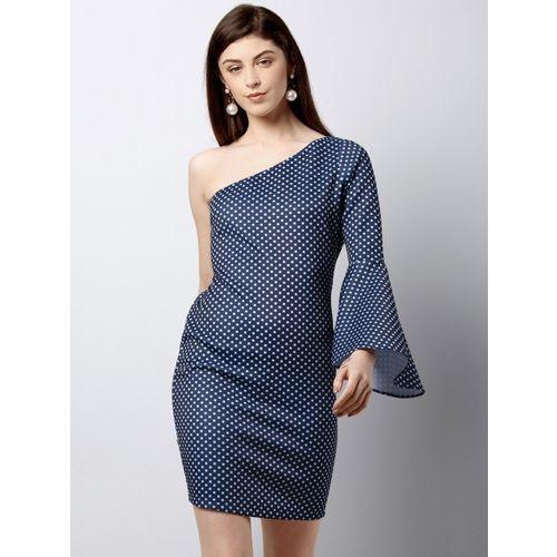 FabAlley Women Blue Printed Sheath Dress