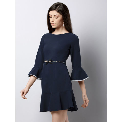FabAlley Women Navy Blue Solid Fit and Flare Dress
