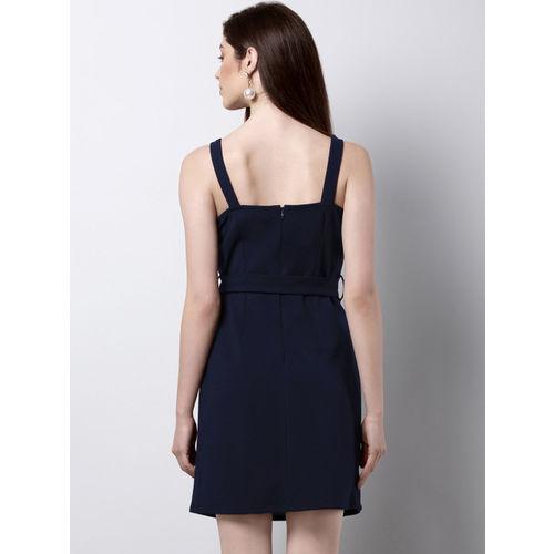 FabAlley Women Navy Blue Solid Sheath Dress