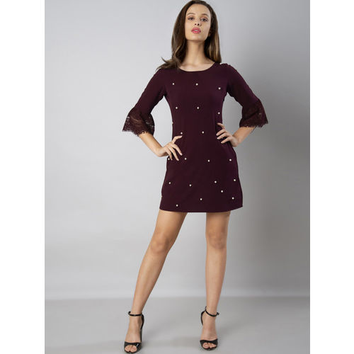 FabAlley Women Maroon Embellished Sheath Dress