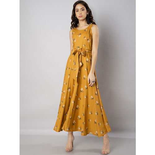 FabAlley Women Mustard Yellow Printed Maxi Dress