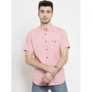Monteil & Munero Peach Cotton Solid Slim Fit mandarin Collar Casual Shirt