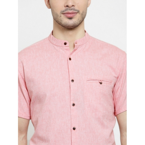 Monteil & Munero Peach Cotton Solid Slim Fit mandarin Collar Casual Shirt
