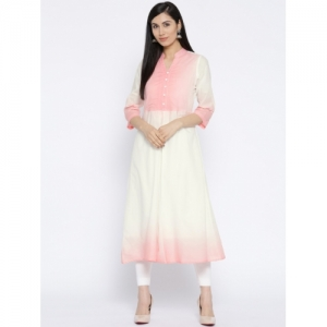 Ayaany White & Pink Cotton Dyed A-Line Kurta