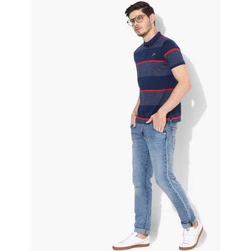 Proline Men Blue Striped Polo Collar T-shirt