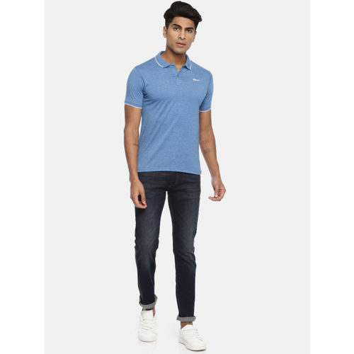 Pepe Jeans Men Blue Solid MAYSON Polo Collar T-shirt