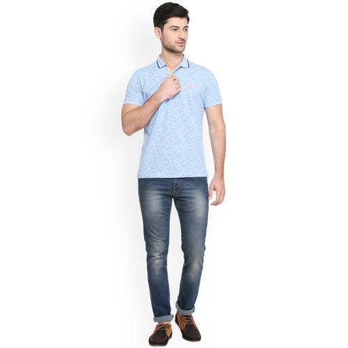 Peter England Casuals Men Blue Printed Polo Collar T-shirt