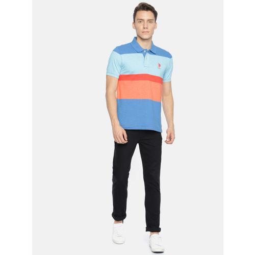 U.S. Polo Assn. Men Blue & Peach-coloured Colourblocked Polo Collar T-shirt