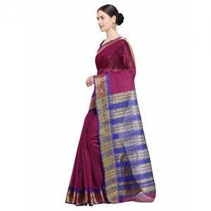 Sareeswarg Saree Swarg Magenta Cotton Blend Saree with Blouse_8492C