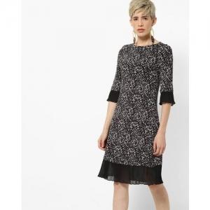 Marks & Spencer Splatter Print A-line Dress with Sheer Panels