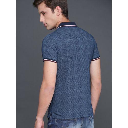 WROGN Men Blue Checked Polo Collar T-shirt