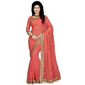 Sareeswarg Saree Swarg Pink Faux Georgette Saree with Blouse Piece