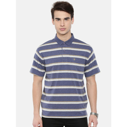 08c5b270 Buy Classic Polo Men Blue & White Striped Polo Collar T-shirt online ...