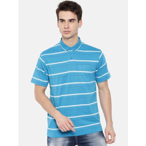 1dc4d607e Buy Classic Polo Men Blue Striped Polo Collar Slim Fit T-shirt online ...