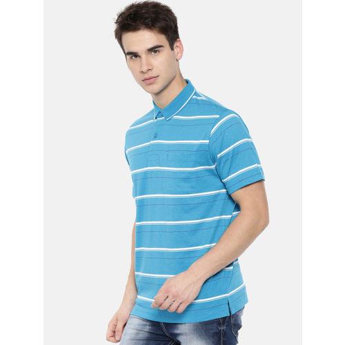 21ccb3920 ... Classic Polo Men Blue Striped Polo Collar Slim Fit T-shirt ...
