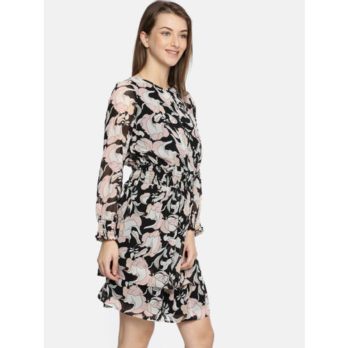 DressBerry Women Black Printed Fit and Flare Dress