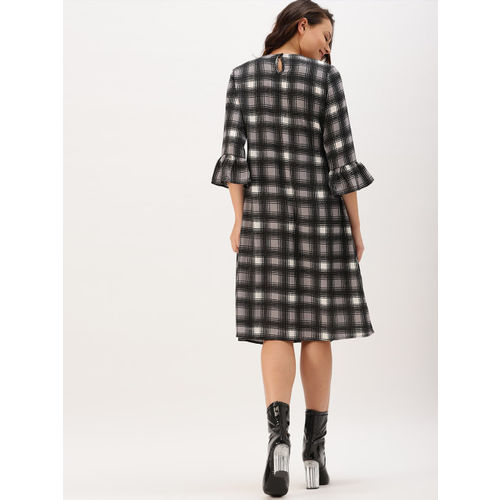 DressBerry Women Black Checked A-Line Dress