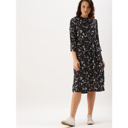 DressBerry Women Black Floral Printed A-Line Dress