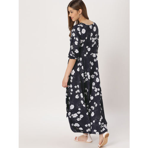 DressBerry Women Navy Blue & White Printed Maxi Dress