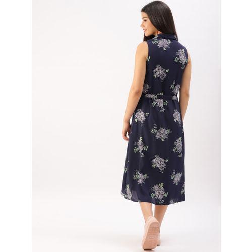 DressBerry Women Navy Blue Printed Shirt Dress