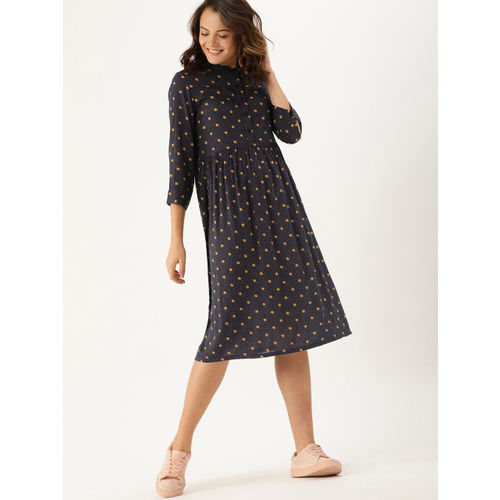 DressBerry Women Navy Blue Printed Fit and Flare Dress