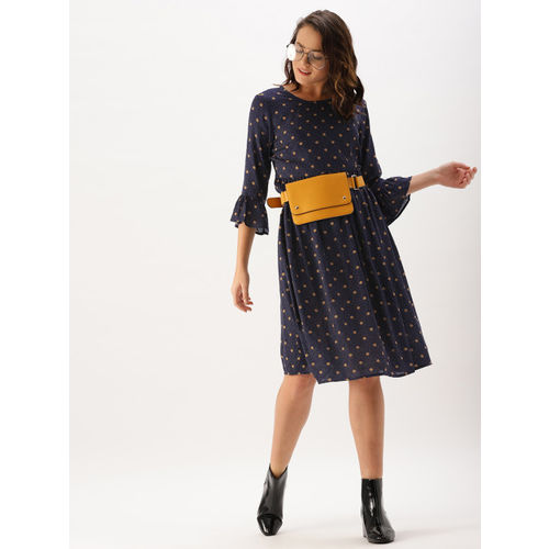 DressBerry Women Navy Printed A-Line Dress