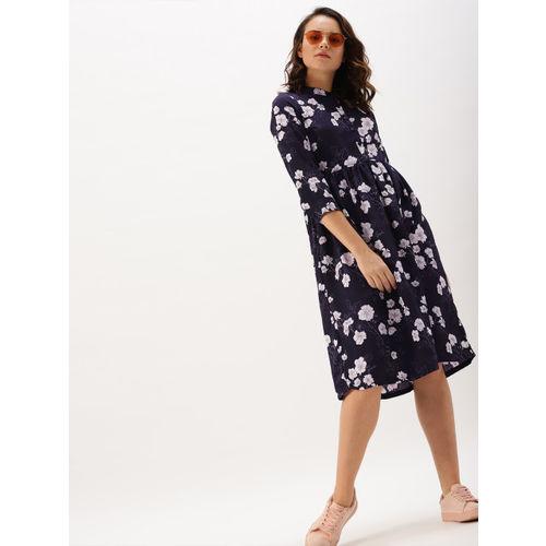 DressBerry Women Navy Printed A-Line Dress