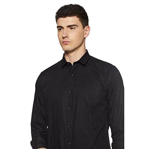 Van Heusen Men's Solid Slim Fit Formal Shirt (VDSF517E03102_Black_38)