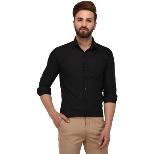 KAFKA Men Solid Formal Black Shirt