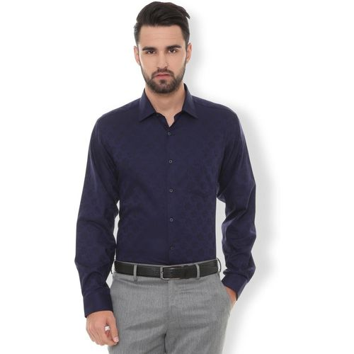 Van Heusen Men Solid Formal Dark Blue Shirt