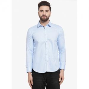Monteil & Munero Blue cotton Printed Slim Fit Casual Shirt