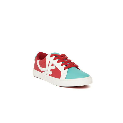 United Colors of Benetton Unisex Red & Blue Colourblocked Sneakers