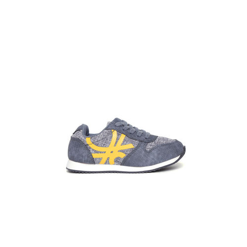 United Colors of Benetton Unisex Navy & Yellow Printed Sneakers