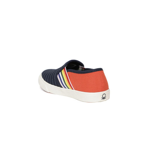 United Colors of Benetton Kids Navy & Orange Slip-On Sneakers