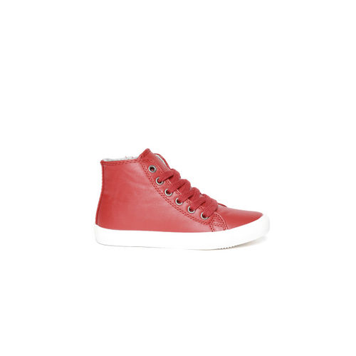 United Colors of Benetton Kids Red Solid Synthetic Mid-Top Sneakers
