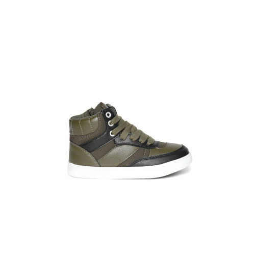 United Colors of Benetton Kids Olive Green & Black Mid-Top Sneakers