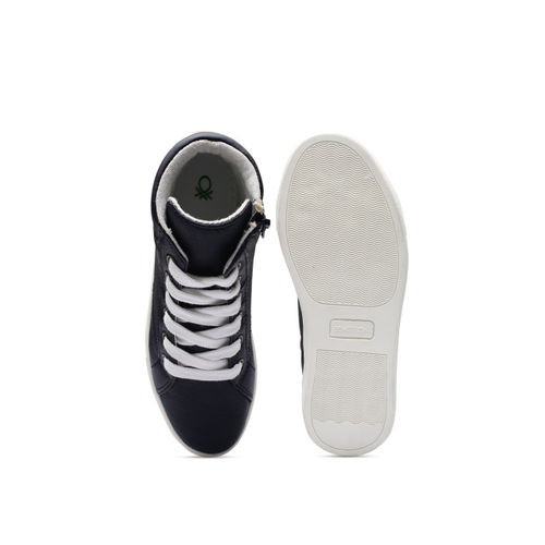 United Colors of Benetton Boys Navy Solid Mid-Top Sneakers