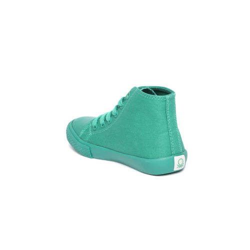 United Colors of Benetton Unisex Green Mid-Top Sneakers