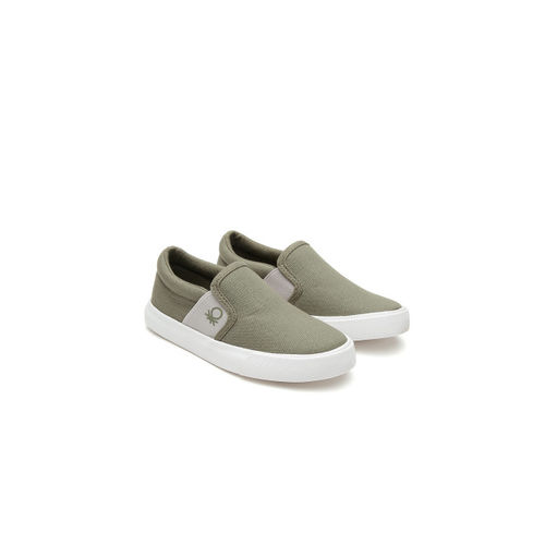 United Colors of Benetton Boys Olive Green Slip-On Sneakers