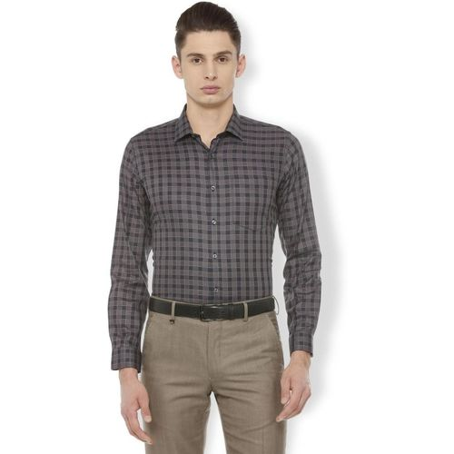 Van Heusen Men Checkered Formal Grey Shirt