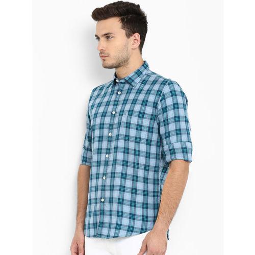 Parx Men Blue Slim Fit Checked Casual Shirt