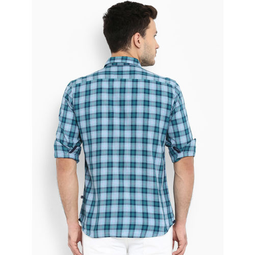Parx Men Blue Slim Fit Checked Casual Shirt