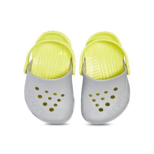 Crocs Kids Electro Light Grey & Citrus Back Strap Clogs