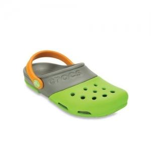 Crocs Kids Electro II Green & Grey Back Strap Clogs